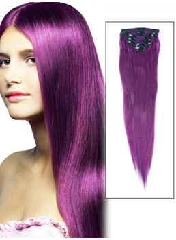 Straight Violet 7PCS Clip in Remy 100% Human Hair Extensions