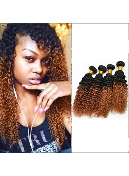 Kinky Curly Ombre Hair 1B/30 100% Human Hair Weave