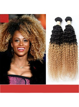 Beyonce Same Style Two Tone Colors 1B/27 Curly Ombre Human Hair Weave 3 pcs