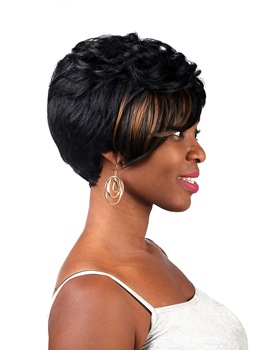 COSCOSS® Mixed Color Short Wavy Capless Synthetic Hair Wig 8 Inches