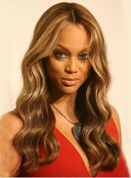 Two-Tone Look Tyra banks hairstyle Premier Top Quality Long Wavy Lace Wig 100% Real Human Hair 20 Inches