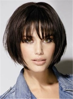Lovely Youthful Bob Hairstyle Short Straight Capless Human Hair Wig