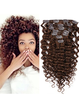Extensions de cheveux humains Cute Girl Kinky Curly 7 pcs Clip en