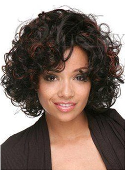 Curly Bouncy Thick Short Hairstyle for Mature Ladies Synthetic Heat Resistant Lace Front Wig 12 Inches
