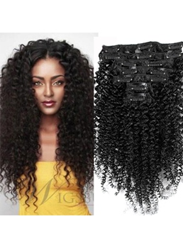 Clip In Black Women Curly 7 PCS India Remi Hair Clip In Hair Extensions 1 PC