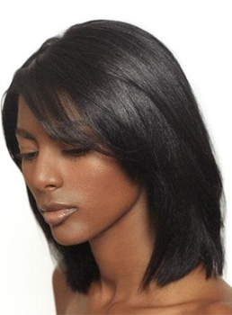 Silky Fluffy Polished Medium Straight Lace Front Wig 100% Real Human Hair 12 Inches