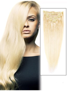9 Piece # 613 Blonde Silky Straight Clip In Indian Remy Human Hair Extension