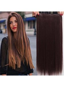 Dark Brown Long Straight Synthetic Hair Weave 26 Inches