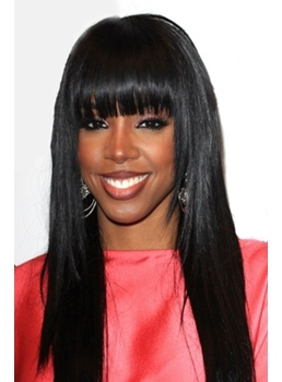 High Quality Fashionable Pretty African American Hairstyle Long Straight Black Wig 18 Inches 100% Human Hair