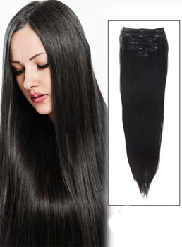 Extra Long Human Hair Straight Natural 9PCS Clip in Hair Extensions
