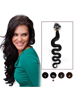 Human Hair Natural Black(#1b) 100S Wavy Micro Loop Extensions