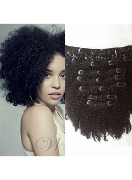 Top quality clip in hair extensions on salewigsbuy clip in african american fashion human hair kinky curly 7 pcs clip in hair extension 1 pmusecretfo Choice Image