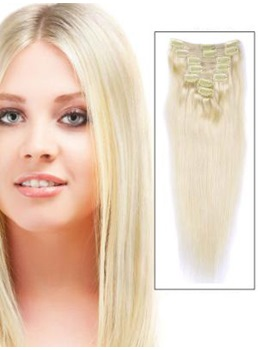 # 613 Blonde 7 Piece Silky Straight Clip In Indian Remy Human Hair Extension