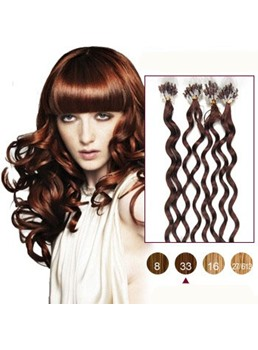 Dark Auburn(#33) 50S Micro Loop Curly Human Hair Extensions
