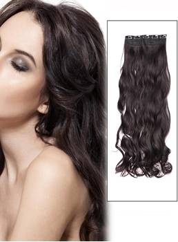 Dark Brown (#2) Instant One Piece Body Wave Human Hair Clip In Hair Extension
