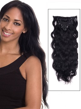Wavy Jet Black Clip in Human Hair Extensions 100% Human Hair