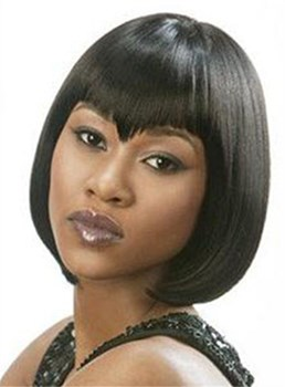 Stylish Specially-designed Bob Hairstyle Short Straight Black Wig 10 Inches