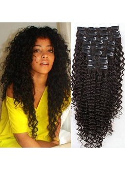 Top quality clip in hair extensions on salewigsbuy top quality clip in brazilian hair curly 100 human hair for full head pmusecretfo Choice Image