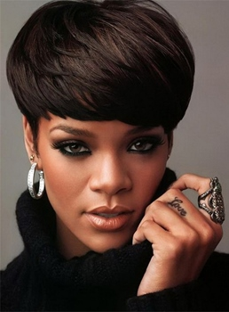 Rihanna Human Hair Short Straight Capless Wigs