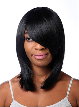 COSCOSS® Medium Straight Lob Capless Synthetic Hair Wig 14 Inches