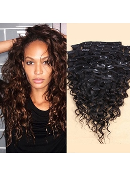 Sexy Deep Curly 7 pcs Clip In Human Hair Extensions