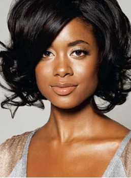 Elegant Short Wave Synthetic Capless Wigs 10 Inches for Black Women