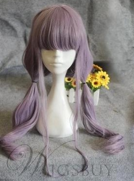 Cosplay Long Straight Purple Wig Synthetic Hair Capless 26 Inches 11487754