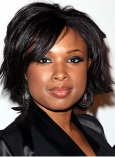 Jennifer Hudson Stylish Short Natural Straight Jet Black Lace Front Wig 8 Inches