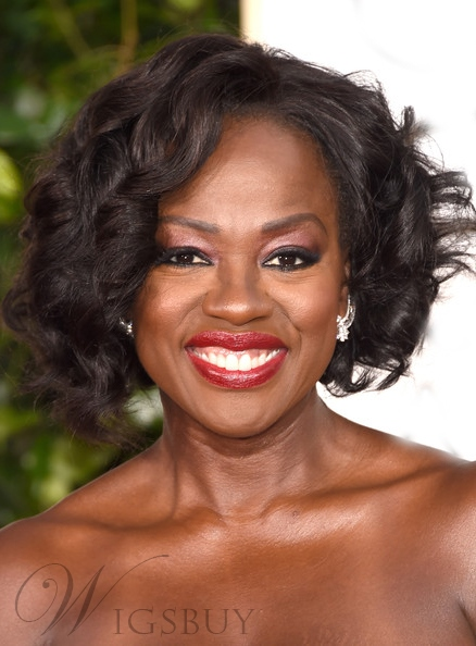 Viola Davis Medium Wave 100% Human Hair Lace Front Wigs 12 Inches