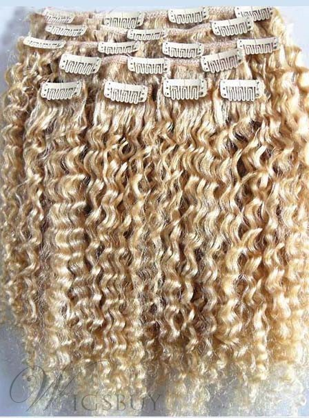 Sexy and Hot Beyonce Hairstyle Clip on Real Hair Extension Curly 100% Human Hair 9Pcs