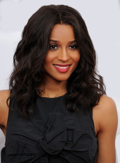 Affordable Natural Ciara Medium Wavy Lace Wig 100% Real Human Hair 16 Inches
