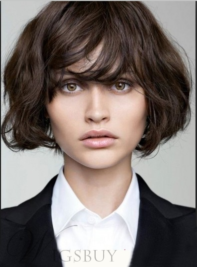 Custom Celebrity Short Fascinating Wavy Brown Wig With Layered Hair Cut Makes You Cute and Sweet for Office Lady