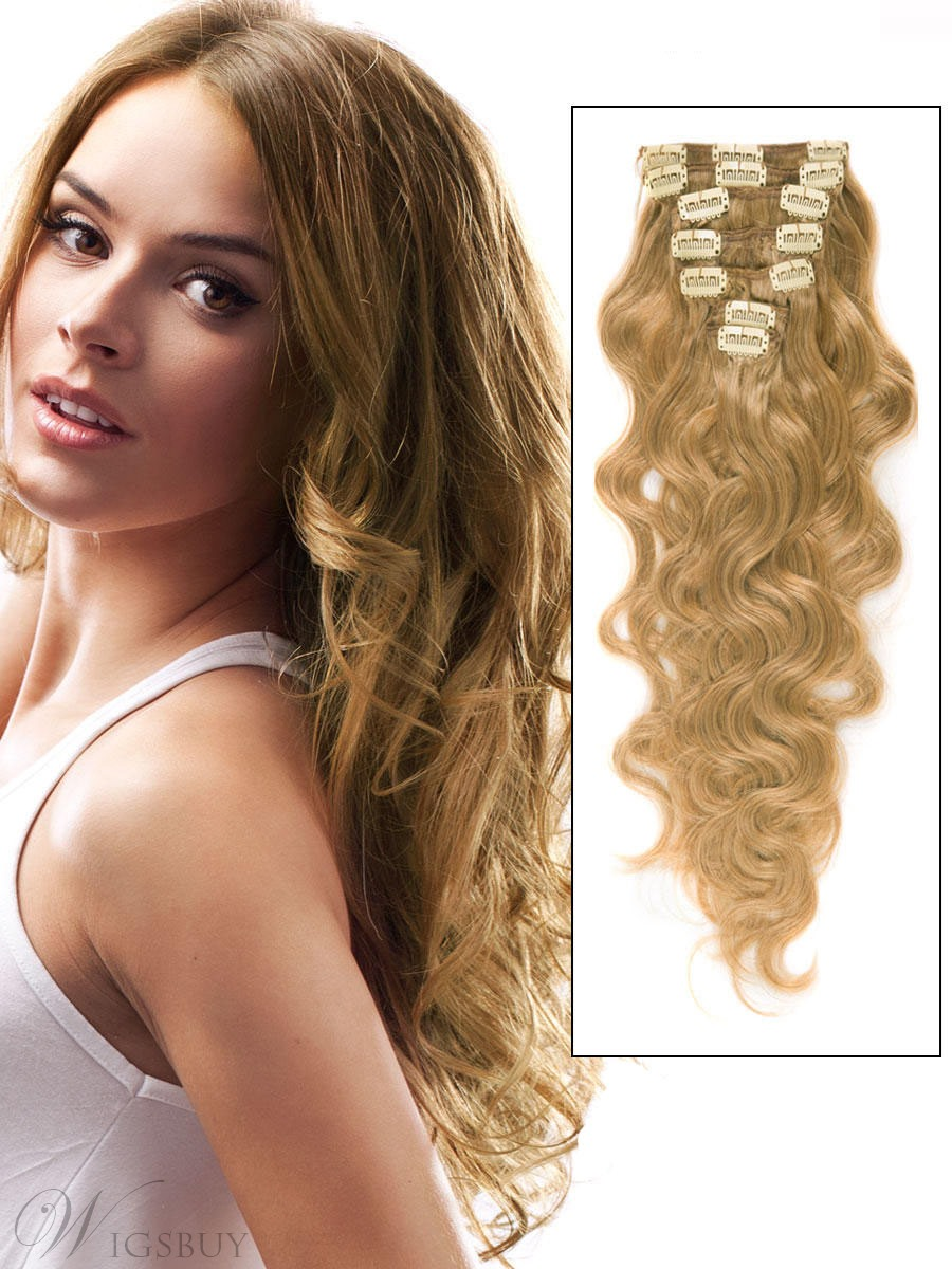 Capelli umani remy ondulati 7PCS Clip in Hair Extensions