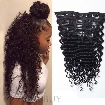 Clip In Hot Selling India Remi Human Hair Kinky Curly Hair Extensions for Black Women 7 PCS