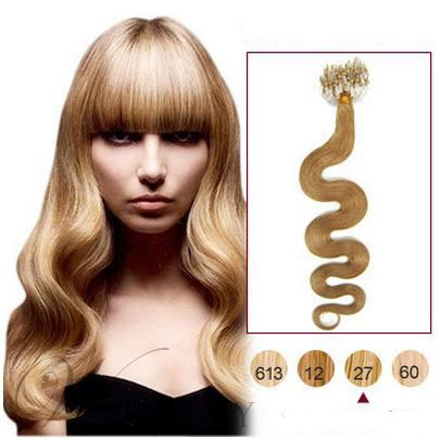 100s Wavy Human Hair Micro Loop Ring Hair Extensions