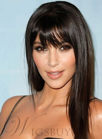 Kim Kardashian Super Smooth Long Straight BLack 18 Inches Synthetic Wig