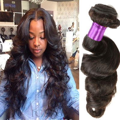 Black Women Brazilian Human Hair Natural Loose Wave Human Hair Extensions  Hair Weave 1pc cdfa94f04