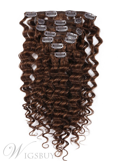 New Arrival Special Clip in Hair Extension Curly 100% Human Hair 9Pcs