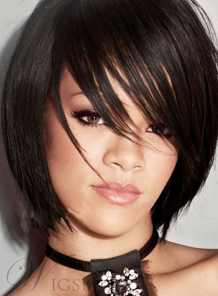 New Fashion Lovely Rihanna's Bob Hairstyle Short Straight Black Wig 100% Human Hair 8 Inches
