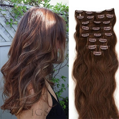 Clip in Hair Wavy 100% Human Hair Full Head Set