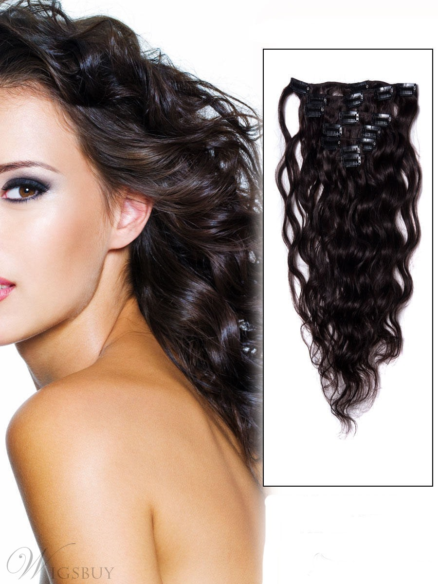 Remy Human Hair Extension Wavy Dark Brown 7pcs Clip In Remy Human