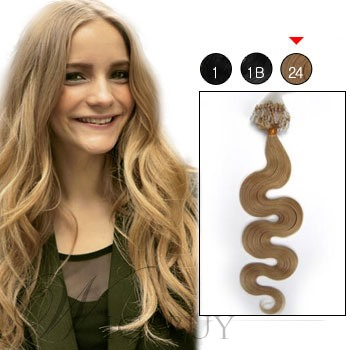 Micro Loop Ring Remy Hair Extensions Wavy (#24 Light Blonde)