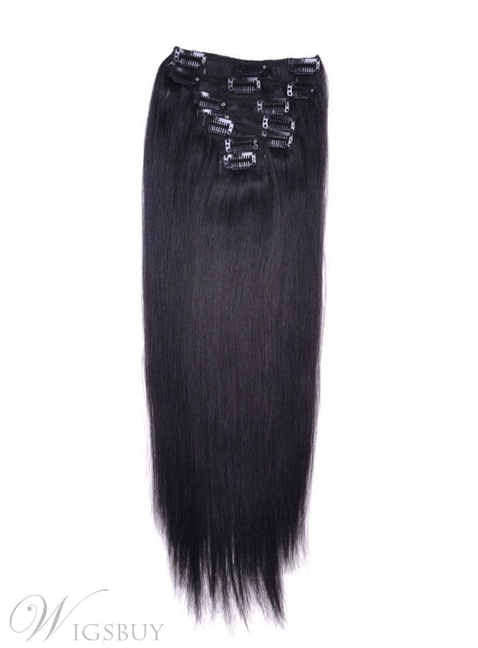 Straight 9PCS Clip in Hair Extensions Remy Human Hair