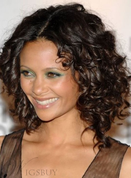 Smooth Carefree Attractive Medium Curly Lace Front Wig 100% Real Human Hair 14 Inches