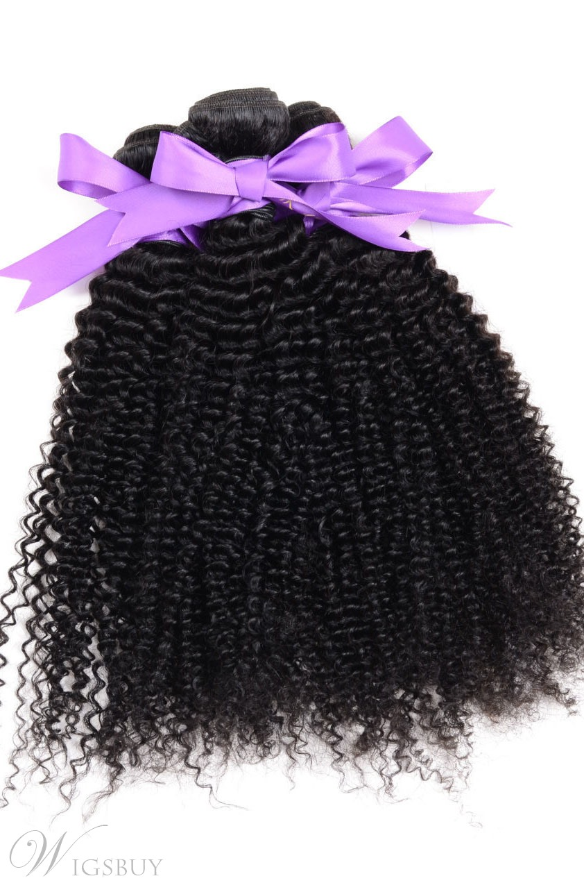 Human Hair Weft Afro Kinky Curly Indian Remi Hair Extensions 1 PC