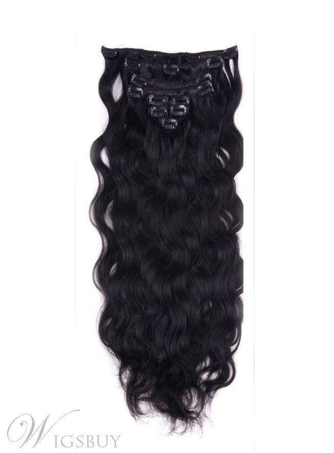Wavy Jet Black Clip In Human Hair Extensions 100 Human Hair