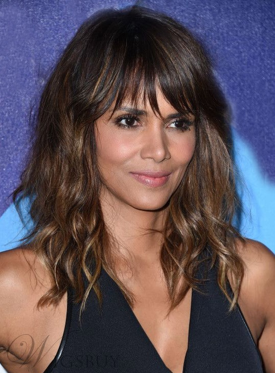 Halle Berry Body Wave Full Bang Human Hair Capless Wigs 14 Inches