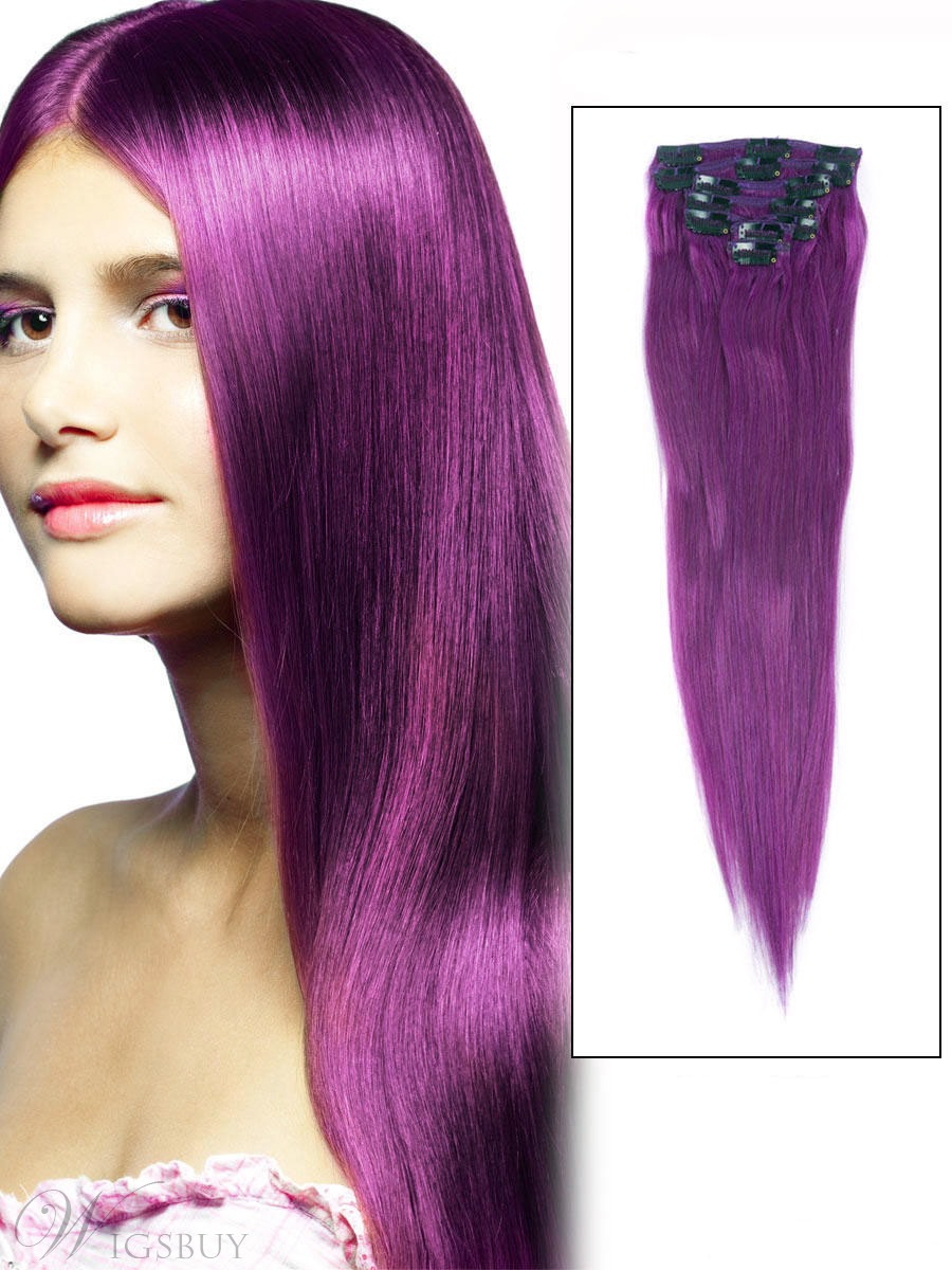 Straight Violet 7pcs Clip In Remy 100 Human Hair Extensions