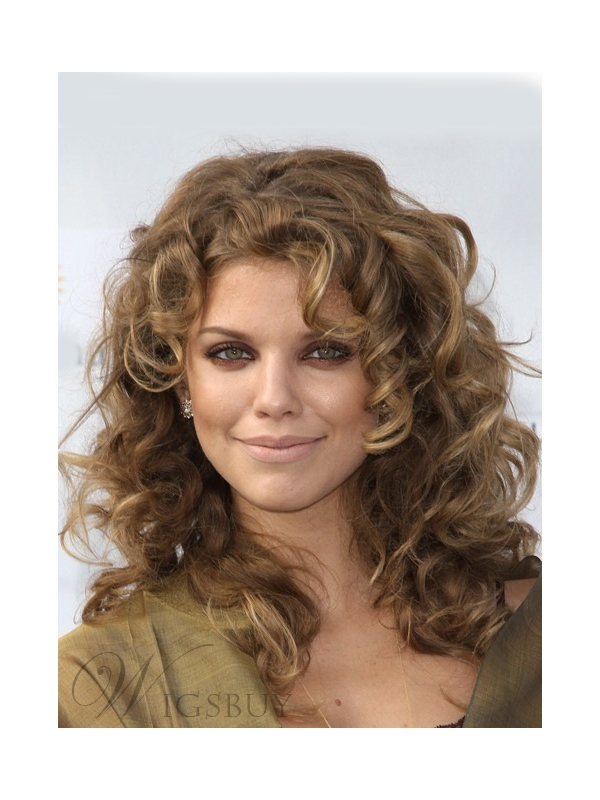 Fascinating Inexpensive Premier Long Curly Lace Front Wig 100% Real Human Hair 16 Inches