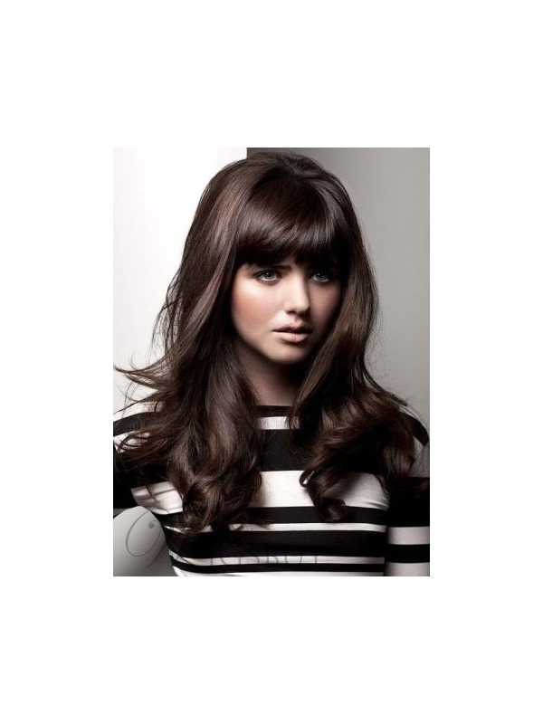 Natural Wave Capless Wig With Full Bangs 18 Inches 100% Human Hair Wig
